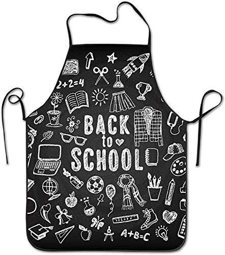 E Schürzen Tafel Zurück in die Schule Skizzen Schürze für Küche BBQ Barbecue Kochen Garten Wasserdicht Langlebig und tolles Geschenk Uniform Code Anzug für Männer Frauen Kreatives Design Lätzchen