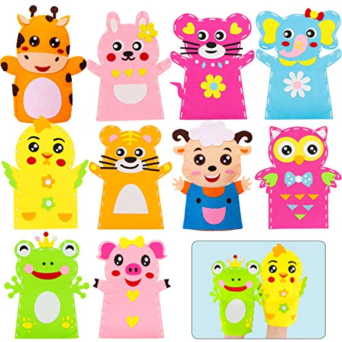 YWQ 10 Pezzi Kit per Realizzare Marionette da Mano a Forma di Animali,Burattini di Mano Materiale Kit, Lavoretti Bambini Bricolage Animale di Ruolo Creativi Kit