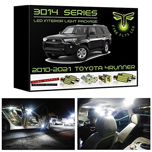 Fyre Flys White LED Interior Lights for 2010-2021 Toyota 4Runner 16 Piece 6000K Super Bright 3014 Series SMD Map Dome Door Vanity Mirror Cargo Puddle License plate Package Kit and Install Tool