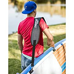 "The THURSO SURF Adjustable SUP and Surfboard Carrier is easy to carry your board HANDS FREE to or from the water. The clip on/clip off SUP and Surfboard strap fits almost any boards (from 30'' to 76"" circumference), as well as paddlers and surfers of..."