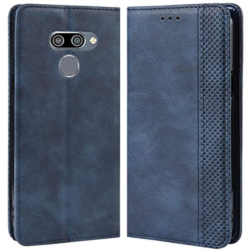 HualuBro Handyhülle für LG Q60 Hülle, LG K50 Hülle, Retro Leder Stoßfest Klapphülle Schutzhülle Handytasche LederHülle Flip Hülle Cover für LG Q60 / LG K50 Tasche, Blau