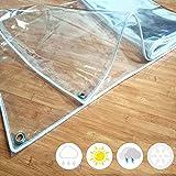 Sh000ad Lona Transparente Impermeable,0,3mm PVC Lona Transparente Cortina con Ojales,Lona Cubierta Camping de Pesca al Aire Libre Trabajo Pesado,Resistente a la Rotura,400g / ? (1.6x4m/5.2x13ft)