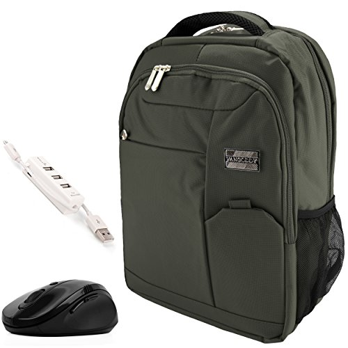 VanGoddy Olive Green Executive Anti-Theft Laptop Backpack w/Wireless Mouse and USB HUB for Apple iPad Pro/MacBook/MacBook Air/MacBook Pro / 11' to 15inch