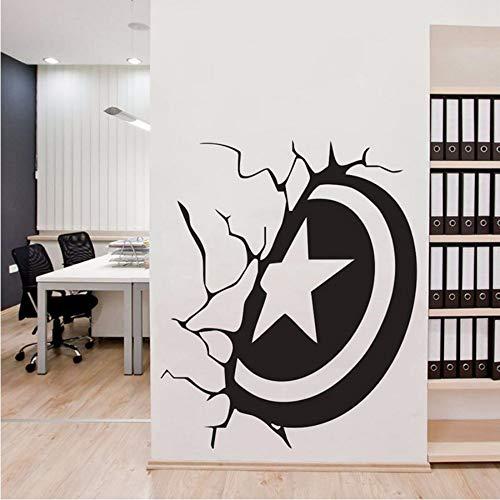 LLLYZZ Captain America schild gebroken muur vinyl sticker wooncultuur woonkamer muurschildering behang afneembare muursticker 58 * 48 cm
