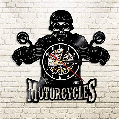 szhao Cráneo en el Casco Racer Motocicletas Reloj de Pared Racer Skull Biker Reloj de Pared de Vinilo Reloj de Pared de Halloween Decoración del hogar Reloj Skull Rider