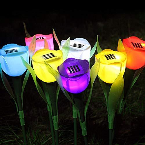 Bonlting Outdoor Solar Garden Lights - 5 Pack Solar Powered Lights, Multi-Color Changing LED Solar Stake Lights for Garden, Patio, Backyard (Tulip Flower)