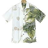 メンズアロハシャツ ライトイエロー/片側緑葉柄 Winnie Fashion/Hawaiian Togs メイドインハワイ(XL (USサイズ))
