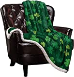 Sherpa Fleece Blanket,St. Patrick's Day Green Shamrocks Pattern Bed Blanket Soft Cozy Luxury Blanket 50'x60',Fuzzy Thick Reversible Super Warm Fluffy Plush Microfiber Throw Blanket for Couch