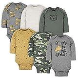Gerber Baby Boy's 6-Pack Long-Sleeve Onesies Bodysuit, Tiger Green, 6-9 Months