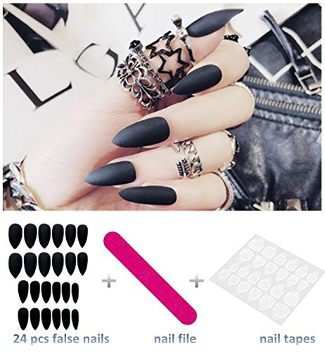 editTime 24PCS Solid Colors Acrylic Stiletto False Nails Full Cover Fake Nails Tips Natural Long Claw Nails (Matte black)