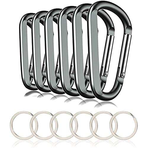 """6PCS 3"""" Aluminum Carabiner Keychain Clip with Keyring, Light Durable Round Shape Nonlocking Caribeaner Hook Buckle for Outdoor Camping EDC Key Chain Ring(Grey)"""