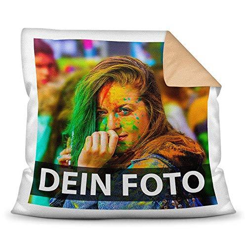 Tassendruck Foto-Kissen Selbst gestalten (40 x 40 cm) - mit Foto individuell Bedruckt/Rückseite Beige/Personalisierte Geschenk-Idee/Deko-Kissen/Kopf-Kissen inkl. Füllung