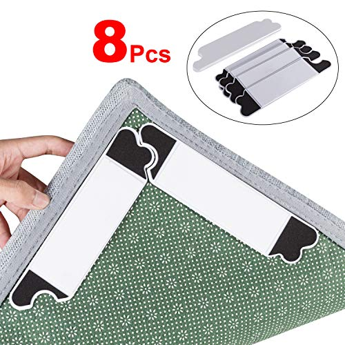 Rug Grippers - Tiaoyeer 8Pcs Anti Curling Rug Gripper, Keeps Your Rug Safe and in Place & Makes Corners Flat, Premium Carpet Gripper with Renewable Carpet Tape, Ideal for Hard Floors and Hard Wood