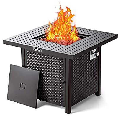 TACKLIFE 31.2 Inch Propane Fire Pit Table, 50000BTU Fire Table with Cover,Sturdy Steel and Iron Fence Surface, ETL Safety Certified, Companion for Your Garden