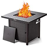 31.2 Inch Propane Fire Pit Table, TACKLIFE 50000BTU Fire Table with Cover, Sturdy Steel and Iron Fence Surface, ETL Safety Certified, Companion for Your Garden