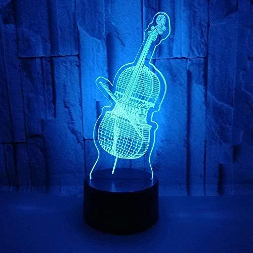 Luz de noche 3D Navidad Cambio de color Interruptor táctil Violín bajo Modelo Luz de noche 3D Creativo 3D led Lámpara de escritorio Decoración de la habitación...