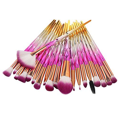 99L'amour Pinceau de maquillage diamant,Professional Maquillage Set de brosse Maquillage Kit de Toilette Set de Brosse(20 pièces) (J)