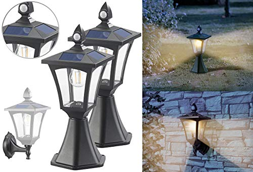 Royal Gardineer Lampe: 2er-Set Solar-LED-Stand- & Wandlaternen, PIR-Sensor, 300 lm (SolarLED-Leuchten für Gatensäule)