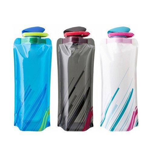 3 pièce Bouteille d'eau Pliable de 700ml Portable Bouilloire Sports de Plein air de Voyage Pliable Bouteille d'eau avec Bouchon Anti-Fuite Twist