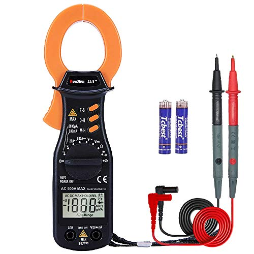 Ruoshui Digital Clamp Meter, 2000 Counts Auto-Ranging Multimeters, AC/DC Current Voltage, Amp, Resistance, Capacitance, Diode Tester