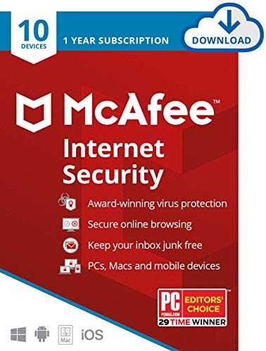 McAfee Internet Security, 10 Device, Antivirus Software, 1 Year Subscription, Password Manager- [Download Code ] - 2020 Ready