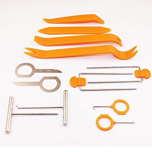 tykusm 12pcs plástico Audio Radio Pry Refit Juego de eliminación de coche y moldura herramienta (naranja)