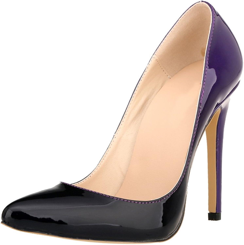 Meijunter Women Gradient color Party Club High Heels shoes Stilettos Pointed Pumps shoes Purple