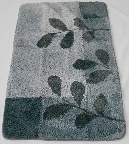 MB Warenhandel24 Badematte Badvorleger Badteppich Designer Grafik oder Farbverlauf Uni einfarbig 4 Größen 2 Varianten (Teppich Leaves Grau, ca. 70x120 cm)