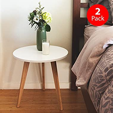 STNDRD. Bamboo End Table: Modern Round Coffee Table - Living Room Side Table for Magazines, Books and Plants - Environmentally-Friendly [2-Pack]
