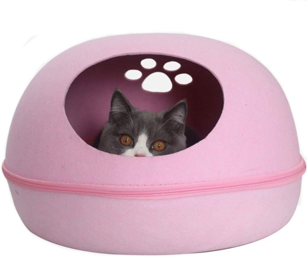 Kelendle Pet discount Cat Felt Tent House Bed Regular discount Removable with Pad Se Caves