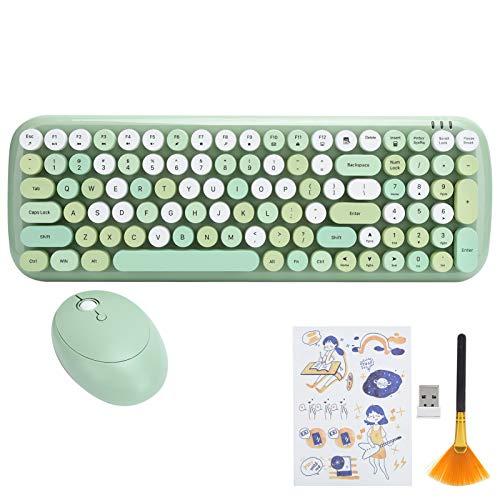 Bezprzewodowy zestaw myszek klawiaturowych do laptopa tabletu komputera stacjonarnego, 2,4 G mysz klawiatura vintage, prosta obsługa i brak napędu, użycie typu Plug and Play. (zielony)