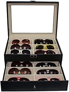 12 Sunglasses Case with Drawer Extra Large Black Carbon Fiber