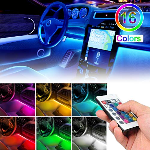 sunva Led Strip Lights for Cars Car Led Strip Lights Universal Under Dash Lighting Kit for All Vehicles, Parties, Outdoor, 16 Colors