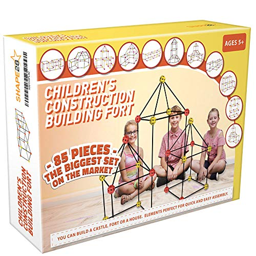 Construction Fort Building Kit 85 Pieces and Storage Bag - Build Castles Tunnels Tents Rocket- Creativity and Teambuilding - Great Discovery of Manual Skills Orange Yellow