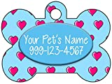 Personalized Dog Tag Pet Id Tag w/ Name & Number Hearts Dog Bone (Blue)