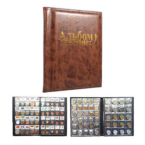 10 Páginas Album De Monedas Coleccionistas De Monedas 250 Bolsillos Para El Almacenamiento De Monedas Colección De Monedas Libro Idioma Ruso (Color : Brown)