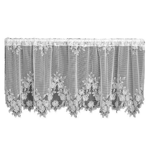 Heritage Lace Tea Rose 60-Inch Wide by 30-Inch Drop Tier, White