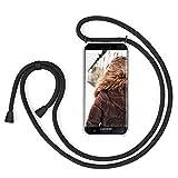 MXKOCO Carcasa de movil con Cuerda para Colgar Samsung Galaxy S7 Edge - Funda Case con Correa Colgante/TPU Necklace con Banda- con Cordon para Llevar en el Cuello - Negro Mate