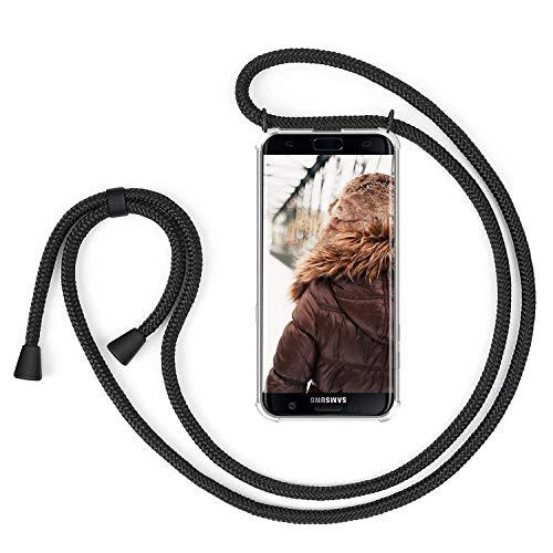 MXKOCO Handykette kompatibel mit Samsung Galaxy S7 Edge, Samsung Galaxy S7 Edge Handyhülle/Case mit Umhängeband-Handykordel mit Schutzhülle Silikonhülle Hülle mit Band/Kette Hülle-Mattschwarz