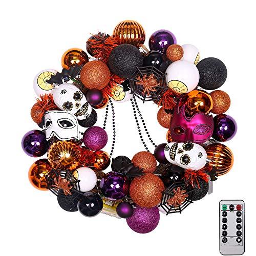 "20"" Pre-Lit Fun Halloween Wreath with Spooky Ornaments"