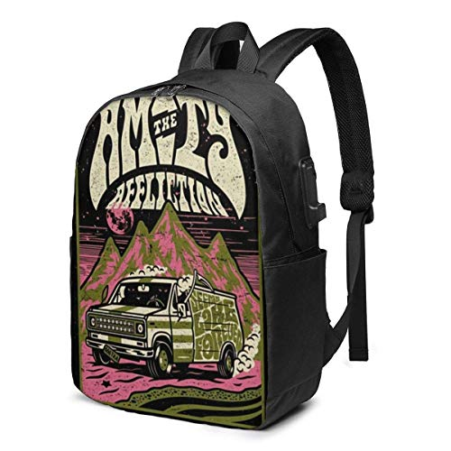 The Amity Affliction1 USB School Backpack Large Capacity Canvas Satchel Casual Travel Daypack for Adult Teen Women Men 17in