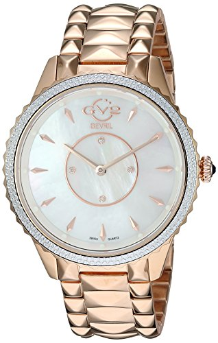 Price comparison product image GV2 by Gevril Women's Siena Swiss-Quartz Watch with Gold-Tone-Stainless-Steel Strap,  Rose,  18 (Model: 11701-929)