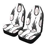 Qilmy 1 paquete de fundas de asiento delantero antideslizante para automóviles, asientos de cubo, para decoración universal, furgoneta, camioneta, SUV, béisbol, negro fuego