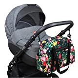 BabyLux Wickeltasche COLORFUL Kinderwagen Buggy Große Handtasche Babytasche mit Befestigung für Mutter Handtasche (76. Schwarz + Rosa)