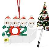 Wishstar Weihnachtsbaum Anhänger, Weihnachtsdekoration, 4 Personen Schneemann Hängen Anhänger, 2020 Überlebte Familie DIY Resin Baumschmuck, Weihnachtsschmuck Kit zur Weihnachtsferien, Familienfeier