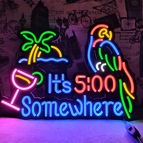 It's 5:00 Some Where & Parrot LED Neon Sign Art Wall Lights for Beer Bar Club Bedroom Windows Glass...