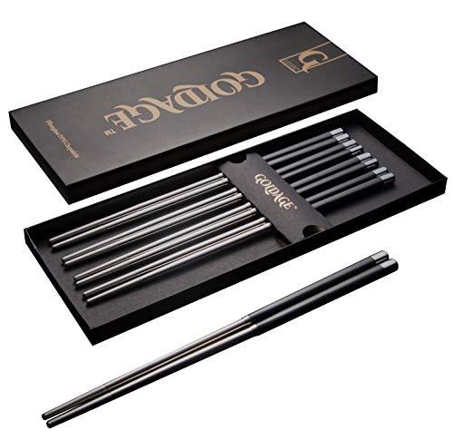 Goldage 5 pares de palillos de acero inoxidable de fibra de vidrio aptos para lavavajillas