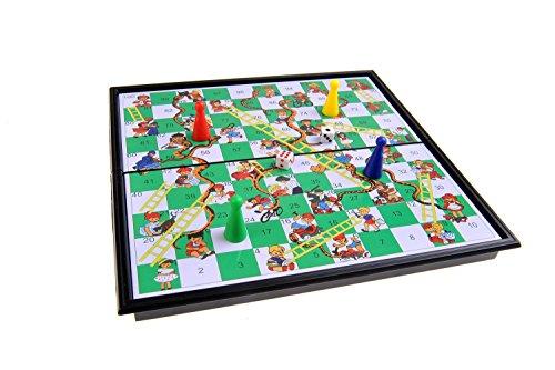 Magnetisches Brettspiel (kompakte Reisegröße): Leiterspiel / Schlangen und Leitern / Snakes and Ladders - magnetische Spielsteine, Spielbrett zusammenklappbar, 20x20x2cm, Mod. SC5430 (DE)