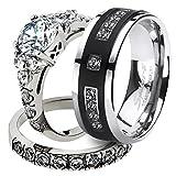 Marimor Jewelry His & Her Stainless Steel 2.50 Ct Cz Bridal Set & Men's Titanium Wedding Band Women's Women's Size 10 Men's Size 11