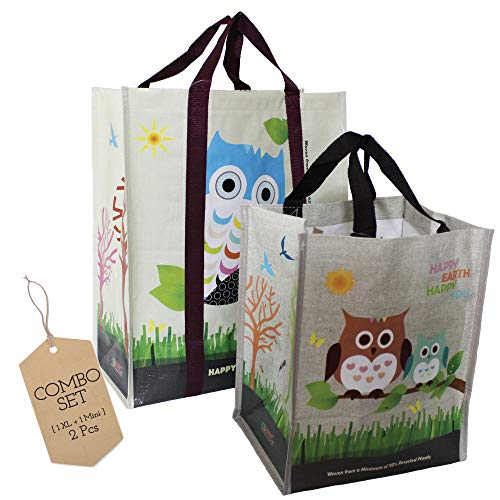 COMBO SET (1 XL + 1 Mini = 2 Pcs) EcoJeannie Super Strong Laminated Woven Reusable Shopping Tote Bags, Free Standing,Recycled Plastic/Bottom Board&Reinforced Nylon Handle, WC0001
